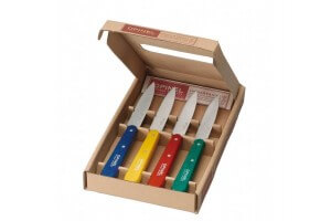 "Coffret 4 Couteaux Office inox ""OPINEL"" manches couleurs lame 10cm"