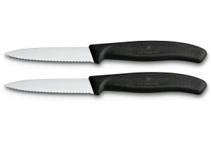 2 Couteaux d'office Victorinox noirs lame à dents 8cm pointe milieu